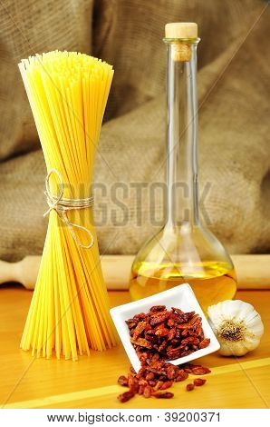 Raw Ingredients For Spaghetti Aglio, Olio E Peperoncino