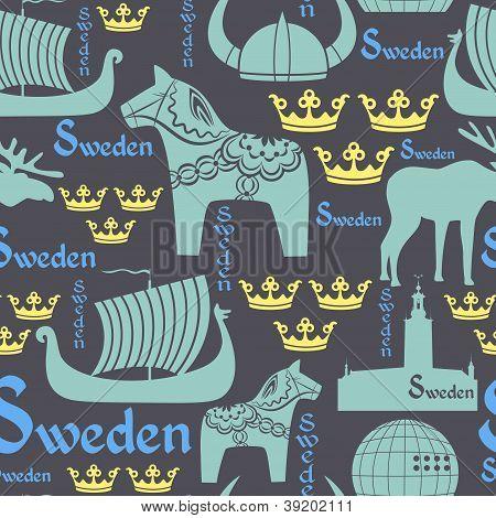 Dark seamless pattern with symbols of Sweden