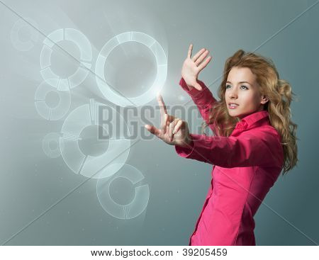 Woman in Pink Blouse Using Virtual Interface