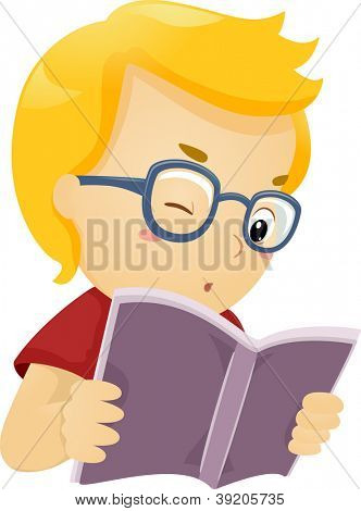 Illustration of a Glasses Wearing Boy Reading a Book