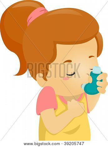 Illustration of an Asthmatic Girl Using an Inhaler