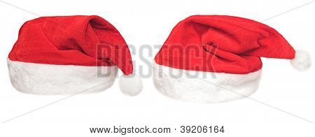 Santa red hat isolated in white background .set