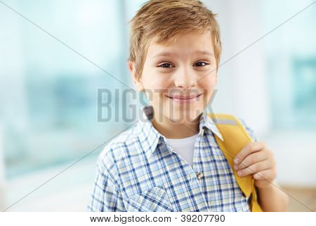 Portrait of cheerful schoolboy with backpack looking at camera