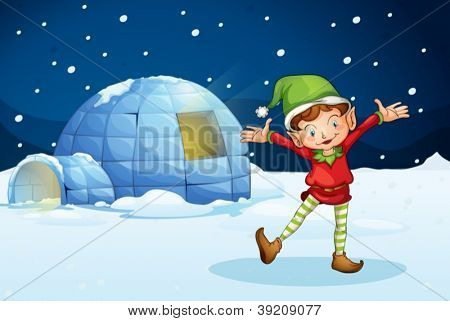 illustration of an elf and an iglu in the night