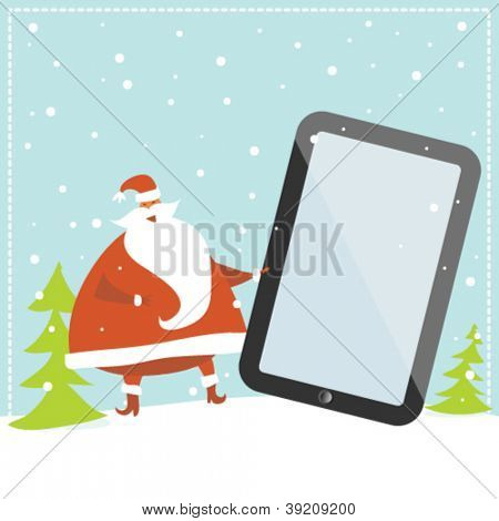 Santa Claus mit digitalen Tablet