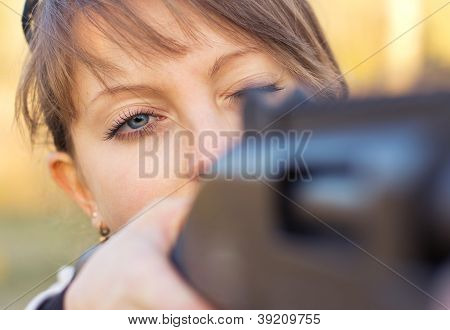Young Girl With A Gun For Trap Shooting