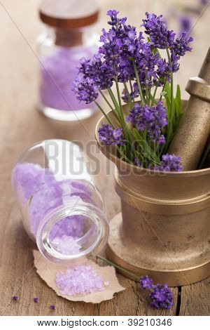 mortar with fresh lavender and salt