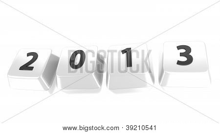 2013 Written In Black On White Computer Keys. 3D Illustration. Isolated Background.