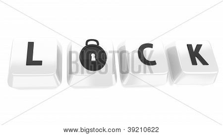 Lock Written In Black On White Computer Keys With A Lock Icon. 3D Illustration. Isolated Background.