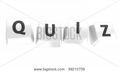 Quiz Written In Black On White Computer Keys. 3D Illustration. Isolated Background.