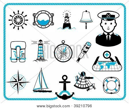Nautical design frame and icon collection, captain character