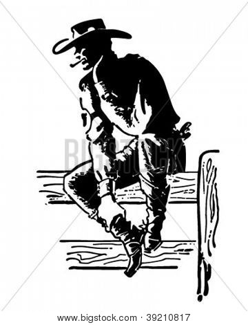 Rodeo Cowboy - Retro Clipart Illustration