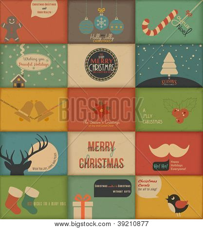 Collection of retro Holidays cards. Vector Illustration.