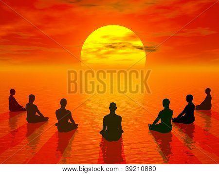 Sunset Meditation - 3D Render