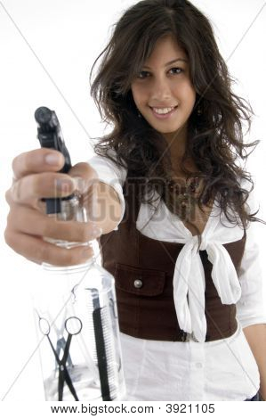 Young Stylist With Spray Bottle