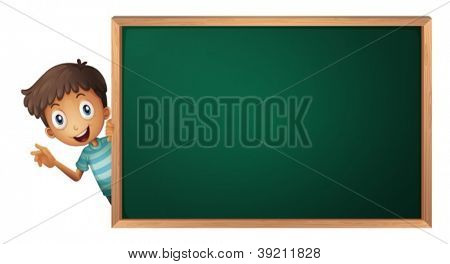 illustration of a boy and a green board on a white background