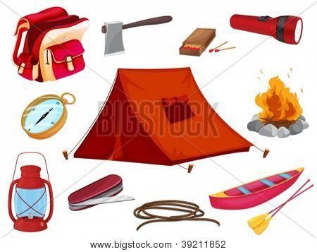 Ilustración de varios objetos de camping sobre un fondo blanco
