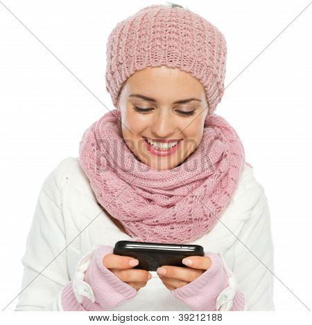 Smiling Woman In Knit Winter Clothing Writing Text Message