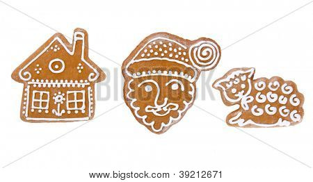 Traditional gingerbread cookies over white background