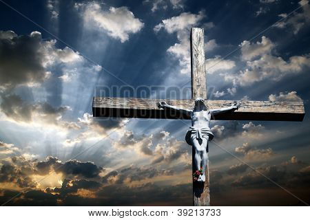 The cross of Jesus Christ against the beautiful sky