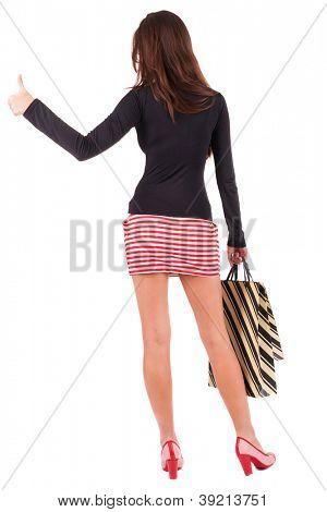 back view of going  woman  in  dress. girl with shopping bags . beautiful brunette girl in motion.  backside view of person.  Rear view people collection. Isolated over white background.