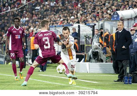 CLUJ-NAPOCA, ROMANIA - NOVEMBER 7: Ivo Pinto and Emre Colak in UEFA Champions League match between CFR 1907 Cluj vs Galatasaray, Dr. C. Radulescu Stadium on 7 Nov., 2012 in Cluj-Napoca, Romania
