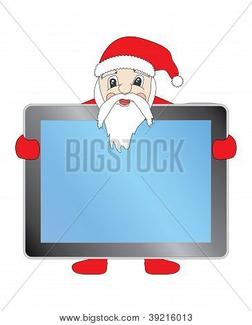 Santa Claus with Tablet Pc