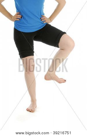 woman stomping foot isolated on white background