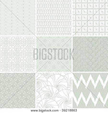 Set of nine abstract geometric seamless patterns.