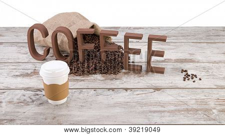 Disposable cup of coffee over sack of coffee beans isolated on white background