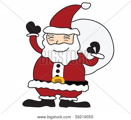 Santa claus on white background. Vector illustration.