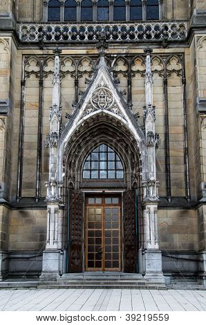 Main Door Of The Neo-gothic New Cathedral (neuer Dom) In Linz, Upper Austria