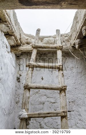 Old wooden ladder, seen in Ladakh, India