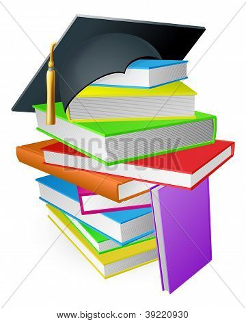 Education Book Pile Graduation Hat Concept