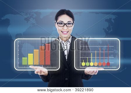 Businesswoman Showing Business Diagram