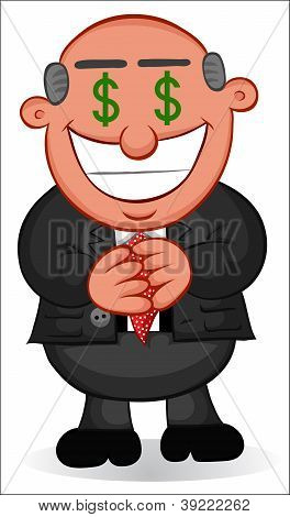 Business Cartoon - Man Greedy with Money Eyes