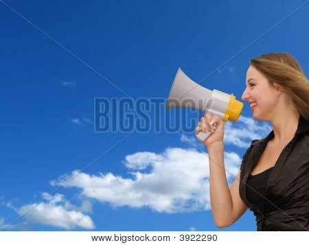 Woman And Magaphone