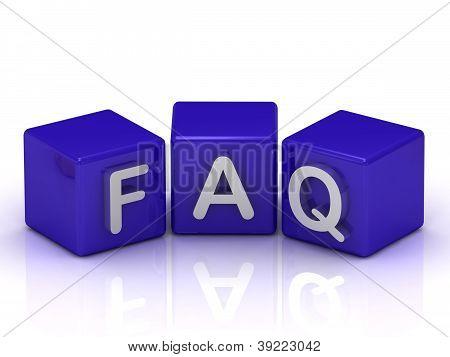 Faq Text On Blue Cubes