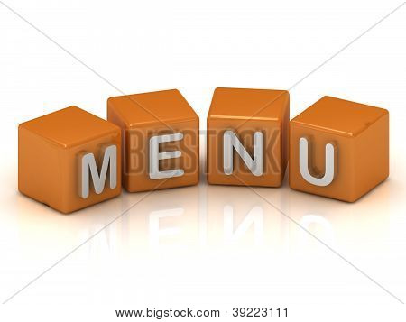 Menu Cubes 3D Render Illustration