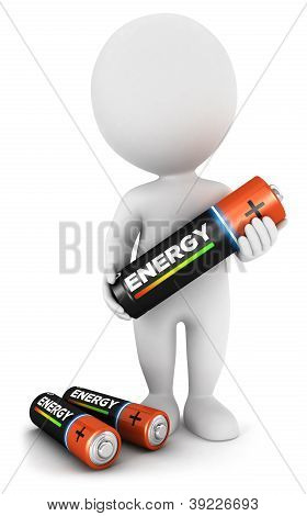 3d white people with a battery