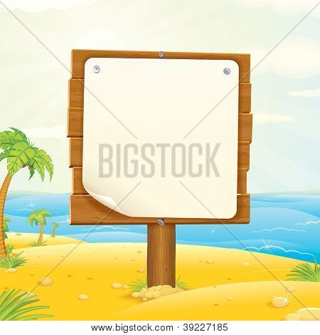 Wooden Sign on the Tropic Beach. Vector Illustration