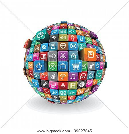 Globe made from a Different Social Media and Computer Icons. Vector Technology Concept isolated on White Background.