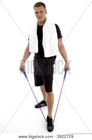 Standing Man With Exercising Rope