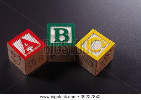 Close up of Alphabet building blocks