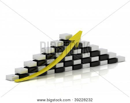 Business Growth Chart Of The White And Black Blocks In A Checkerboard Pattern