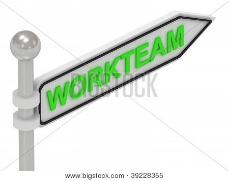 Workteam Arrow Sign With Letters
