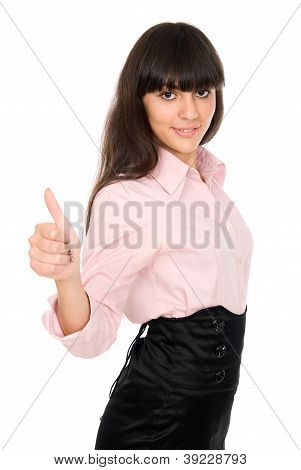 Business Woman Shows Thumb