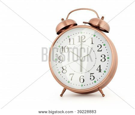 Classic Style Alarm Clock Isolated On White