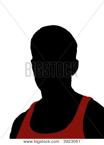 Silhouette Of Man In Red Tank Top
