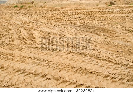 Truck Car Tracks Near Sand Pit Construction